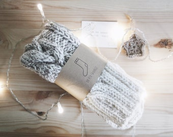 Comfy Bed Socks, Knitted Cable Socks, Winter Accessories
