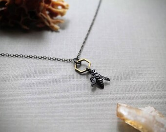 Queen Bee- Tiny Silver Honey Bee Necklace, Oxidized Sterling Silver Necklace, Brass Honeycomb Necklace, Geometric Necklace, Bee Keeper