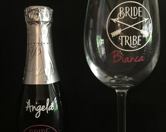 Bride Tribe/Hens Night decal stickers personalised with names for wine glass or small Champagne bottle