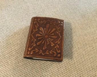 Blanes leather match book holder with a book decor