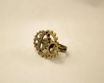 Bronze steampunk inspired ring