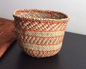 African Iringa Natural and Rust Basket