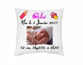 Personalized birth pillow with photo and text