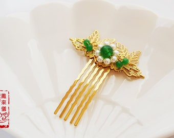 Flyin Chinese green jade hair comb in Tang style, shell pearl, gold plated copper filigree, Asian hair stick, Chinese jewelry