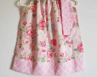 Summer Dress Pillowcase Dress with Roses Pink Floral Dresses Girls Dresses Rose Dress Lecien Floral Dress little girl dresses Baby Dresses