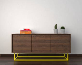 Midcentury modern sideboard - chocolate beech and yellow