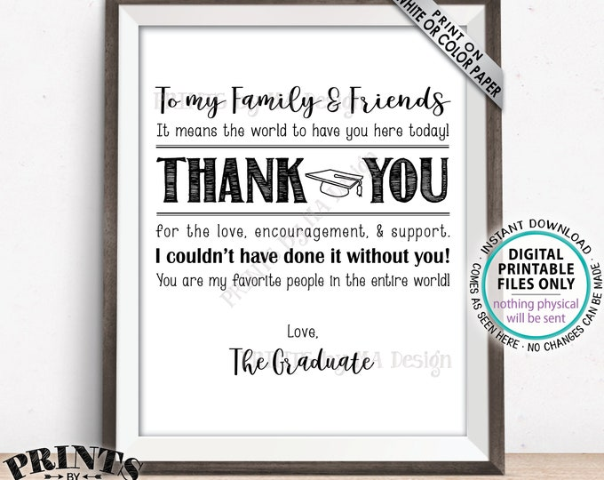 "Thank You Sign, Thanks from the Graduate Sign, Grad Thank You Card, Graduation Party Decoration, PRINTABLE 8x10/16x20"" Grad Sign <ID>"