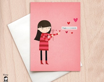 Girl Blowing Kisses - Hugs & Kisses - Love Card - Happy Valentine Greeting Card