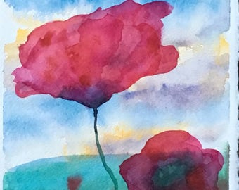 Poppy - Original watercolour 19 x 28 cm #21 #easybuy watercolour