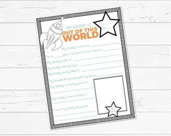 Father's Day Printable Gift---Out of This World Daddy, All About My Daddy, Father's Day Questionnaire, Gift for Dad, Coloring, Space