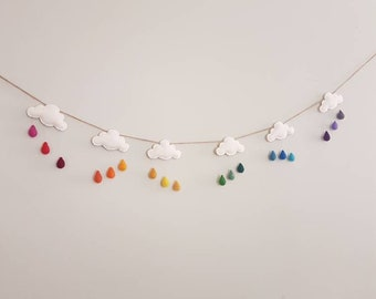 Rainbow rain cloud garland, rain drop mobile, rainbow rain drop cloud wall hanging, rain cloud bunting, rain cloud nursery decor, baby room