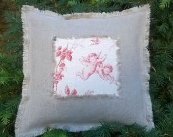 Angels pillow linen washed and fringed 50 x 50 cm