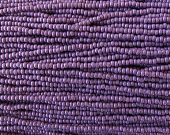 8/0 Opaque Dark Purple Czech Glass Seed Bead Strand (CW35) SE
