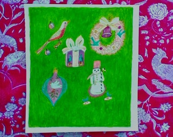 Christmas Painting Print with Birds, Ornaments,Snowman, Wreath,Bell and Present