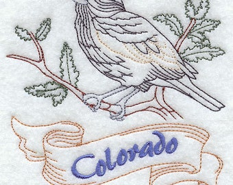 Colorado Lark Embroidered Flour Sack Hand/Dish Towel