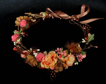 Flower crown bridal headpiece boho wedding hair orange hairpiece berry crown floral crown wreath Frida Kahlo mexican headband feather