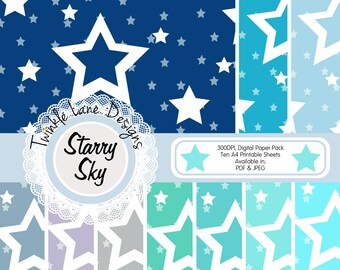 Starry Night, Digital Papers, Nights Sky, Digital Paper Pack, PDF Papercraft, Ten A4 Pages, Stars, Twinkle, Twilight, Papercrafting, Crafts