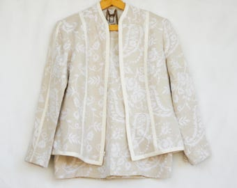 Vintage 90s Neiman Marcus Creme Skirt And Jacket Suit/High Fashion/Wedding/Formal