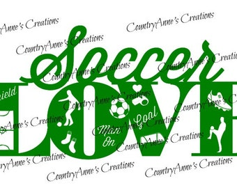 "SVG PNG DXF Eps Ai Wpc Cut file for Silhouette, Cricut, Pazzles, ScanNCut  -""Soccer Love""  svg"