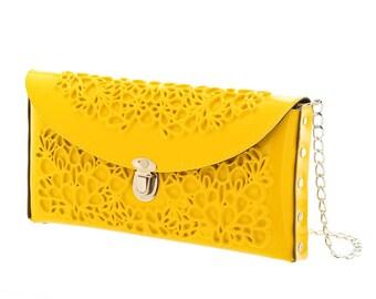 Bride yellow purse / wedding clutch bag / vegan vinyl handbag / yellow clutch bag / unique gift / serious about fashion / medusa bags