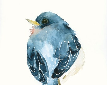 Bird Art Card Blank Greeting Card Blue Bird