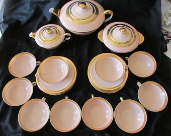 D'exceptionnel complet antique Français Limoges Art déco pâle rose thé service service à thé c1920