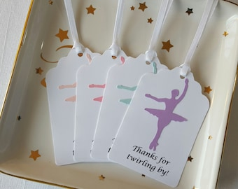 Ballerina Nutcracker Ballet Dancer Birthday Party Favor Tags: Thanks for twirling by!, Set of 12