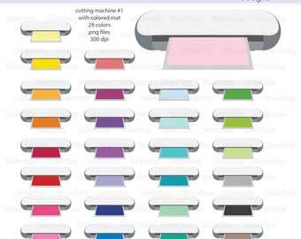 Cutting Machine with Colored Mat (Set #5) Icon Digital Clipart in Rainbow Colors - Instant download PNG files