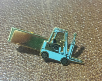 Vintage Clark Tie Clip Forklift Equipment Blue