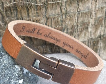 FREE SHIPPING-Custom Men Bracelet, Personalized Leather Bracelet, Hidden  Message Bracelet, Unisex Custom Bracelet, Leather Band Engraved