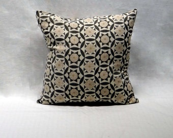 Iznik Handscreen Printed Cushion Cover - Charcoal Grey / Antique Beige  40x40cm
