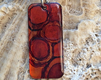 Shades of Brown and Orange Hand Paint Alcohol Ink Rectangle Copper Necklace (2)