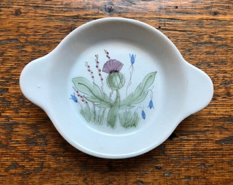 Buchan's Thistle Stoneware Egg Dish Shirred / Hand Painted Stoneware from Portobello Scotland / Thistleware Individual Egg Dish
