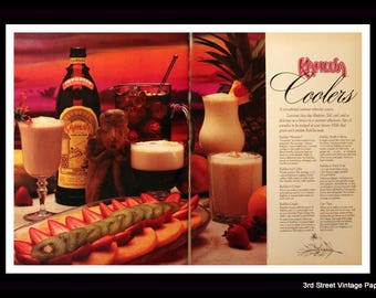 1987 Kahlua Coffee Liqueur Ad w Summer Recipes - Wall Art - Home Decor - Kitchen - Bar - 80s  Style - Retro Vintage Liquor Advertising