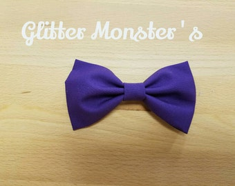 Boys Purple Bow Tie in Cotton,  Ring Bearer Tie, Groomsmen Tie, Graduation Bow Tie, Clip on Bow Tie, Summer or Spring Wedding Bow Tie