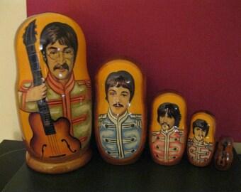 THE BEATLES - Large Beautiful Art Gift set of 5 Russian Babushka Matryoshka nesting dolls. Hand Crafted in Russia. Fast Shipped from Usa