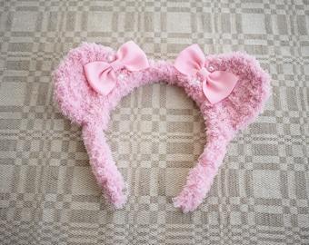 Pink Fuzzy Bear Ear Headband