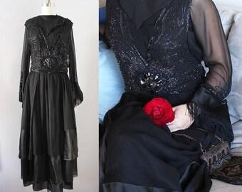 Edwardian Gown / Vintage Antique Silk Chiffon 1910s Gown / XS