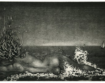 Original etching: 'Hydrophobia' - Medusa at the Beach, from an edition of 12 prints.