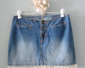 Denim Skirt, Mudd Skirt, Jean Skirt, Blue Jean Skirt, Upcycled Skirt, Denim Mini Skirt,  Mini Skirt, Lace Mini Skirt, Short Skirt, Jean Mini