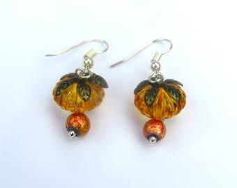 Pumpkin Dangle Drops/ Orange Pumpkins/ Cute Pumpkins/ Halloween Earrings/ Jack O Lantern Earrings/ Fall Jewelry/ Halloween Party Jewelry