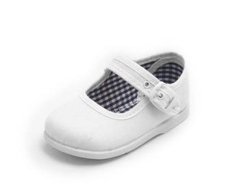White Mary Janes shoes, white canvas shoes, white girl shoes