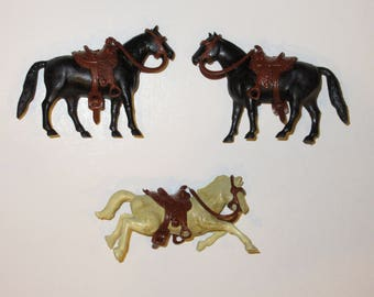 Vintage MARX Western Horses with Saddles and Reins Lot