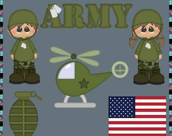Army, Military, Soldier - Instant Download - Commercial Use Digital Clipart Elements Graphics Set