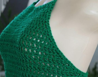 Handmade Crochet Green Crop Top