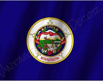 Minnesota State Flag on a Metal Sign