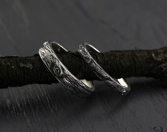 Tree bark His and Her silver wedding bands set, Tree rings set, His and Her wedding ring, Mens tree band, Womens tree ring, Silver bark ring