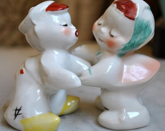 Vintage Van Telligen Kissing Boy and Girl Shakers & Bunny Shaker - SALE