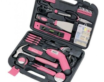 Apollo Precision Tools 135-Piece Household Pink Tool Kit, DT0773N1, New