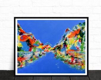 Abstract art print, abstract art, mountain print, mountain art, original painting, modern art, wall art, contemporary, art prints, fine art